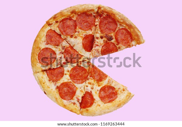 pizza pepperoni on pink five piece. half pizza. top view. pizza isolated