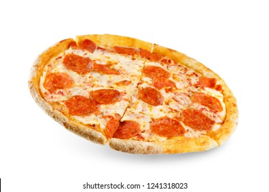 Pizza with pepperoni, tomato sauce and cheese isolated. toning. selective focus