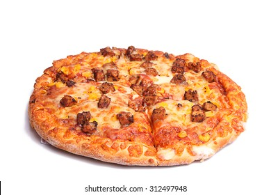 Pizza photographed against white background