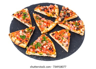 Pizza prosciutto with mushrooms and ham. Studio Photo