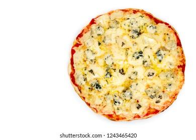 Pizza quattro formaggi with mozarella on white background