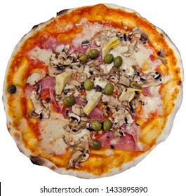 Pizza Quattro Stagioni - Four Seasons pizza, stone-baked, isolated on white. The artichokes represent spring, the olives summer, the mushrooms autumn, and the ham winter.