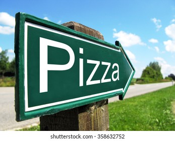 PIZZA road sign