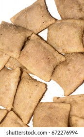 Pizza rolls on a white background.