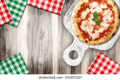 pizza in rustic wooden cutting board
