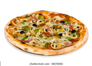 pizza salami,mushrooms and vegetable-isolated on white  ,Shallow depth-of-field