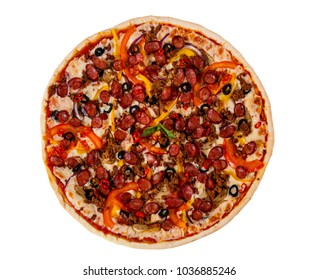Pizza with sausages, cheese and minced meat