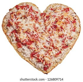 pizza in shape of heart isolated on white background