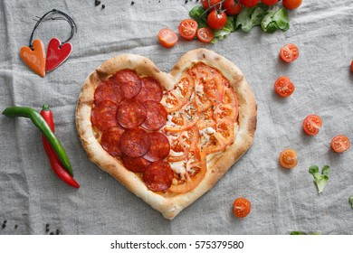 pizza in the shape of a heart for Valentine's day
