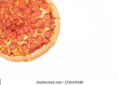 Pizza with a side on a white background