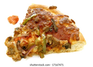 Pizza slice against white background
