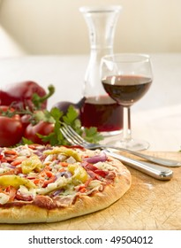 Pizza still with red wine