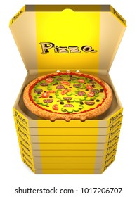 Pizza with tomatoes, olives, sausage, and cheese in an open cardboard yellow box is on top of a stack of closed boxes of pizza. 3D illustration
