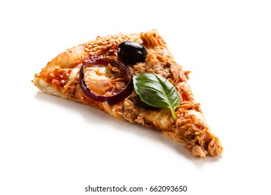 Pizza with tuna on white background