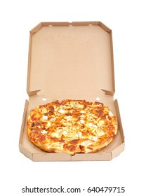 Pizza with various cheese toppings in cardboard box