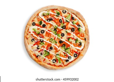pizza with vegatables color fresh olive tomato