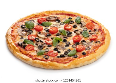 Pizza vegetarian isolated on white background.