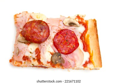 Pizza view from above on white background