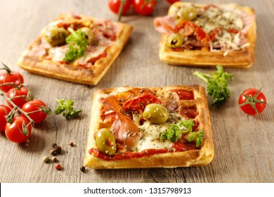 pizza waffle with ham and cheese
