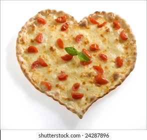 Pizza-shaped heart with fresh tomato