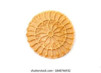 Pizzella, a typical cookie from the Italian region of Abruzzo in the shape of the Rosone di Collemaggio (the rose window of Santa Maria di Collemaggio in L'Aquila,Italy)