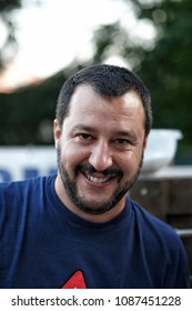 PIZZIGHETTONE, ITALY - JULY 15 2015 - portrait of Matteo Salvini leader of Lega Nord party winner of the Italian political elections during a meeting with voters and supporters