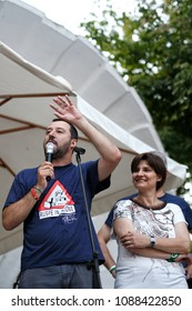 PIZZIGHETTONE, ITALY - JULY 15 2015 -  Matteo Salvini leader of Lega Nord party winner of the Italian political elections during a meeting with voters and supporters