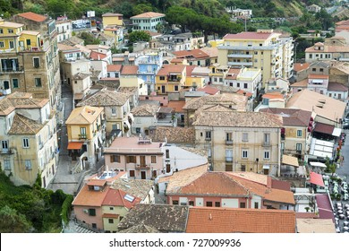 PIZZO, ITALY Calabria region, a seaport and comune in the province of Vibo Valentia/ View of Pizzo Calabro tourism Italy area. Houses on the rock