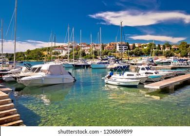 Pjescana Uvala near Pula harbor and turquoise coast view, Istria region of Croatia