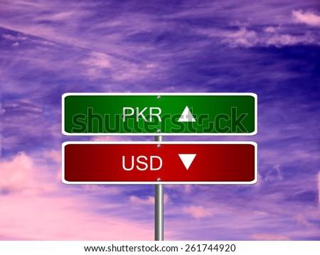 Pkr Usd Pakistan Pakistani Rupee Us Stock Photo Edit Now 261744920