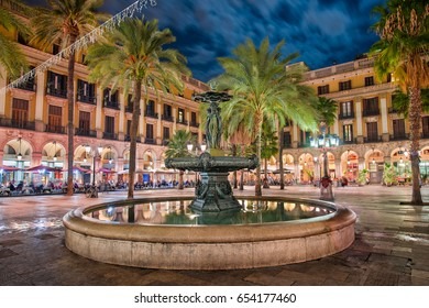 Placa Reial in Barcelona, Spain at night