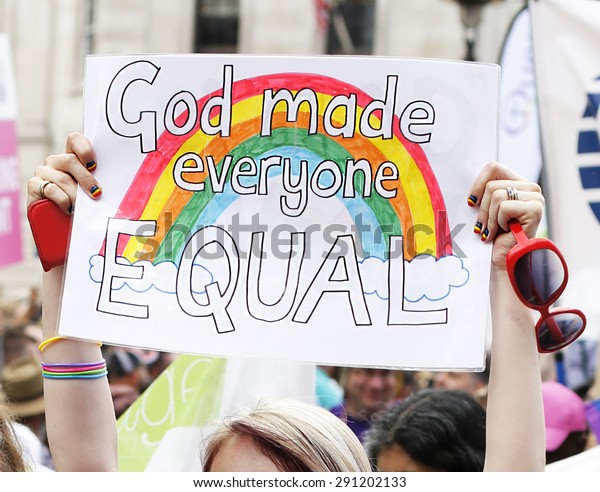 Placard, God made everyone equal, 2015, London Pride