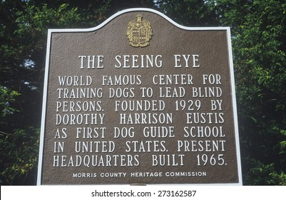 Placard in Morris County, New Jersey commemorating the home of the 'Seeing Eye'
