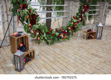 place with an arch for the wedding ceremony