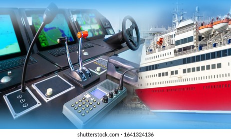 Place of the captain of the ship. Captain?s bridge of a passenger ferry. Cruise vessel control panel. Concept - cruise ship management training. Helm of a modern ship. Place to steer the vessel.