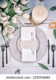 Place card mockup. Wedding table setting.