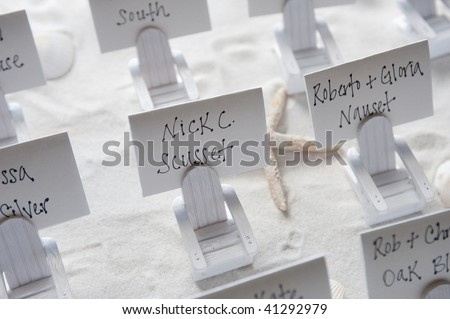 place cards beach themed wedding stock photo edit now 41292979