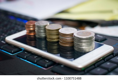 Place a coin on the mobile keyboard background