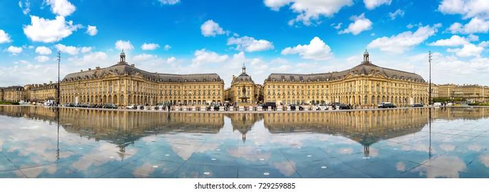 Place de la Bourse in Bordeaux in a beautiful summer night, France