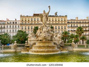 Place de la Liberté - fountain of Liberty square in Toulon