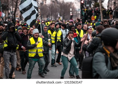 """Place de la Republique, Paris, France - February 2, 2019 : Demonstration yellow vests (""""gilets jaunes"""" in french) act 12. The protest is against the increase of fuel cost and excessive life costs"""