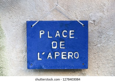 Place de l'apero sign also called aperitif in French
