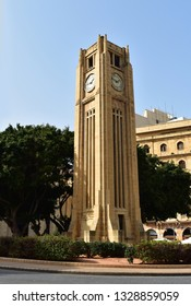 """Place de l'Etoile"" ""Star square"" clock tower  in front of the parliament building in Beirut, Lebanon"
