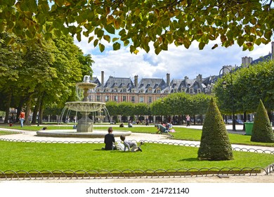 Place des Vosges - the old square in Paris, France