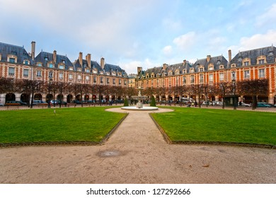 The Place des Vosges in Paris City, France