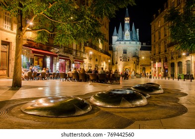 """""""Place du Palais"""" by night with """"Porte Cailhau"""" background from Bordeaux city"""