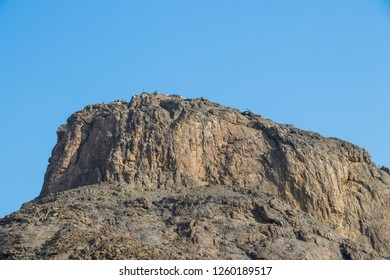 Place of first revelation to Prophet Muhammad. Magnificent view of the top of Jabal Nour, where Hira Cave is situated