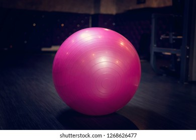 Place for fitness and exercise. pink fitball.
