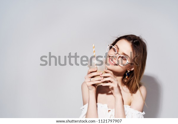 place free woman with glasses with coffee