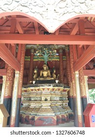 The place to invent the ancient Buddha image base of Pong Sanook temple, Lampang province